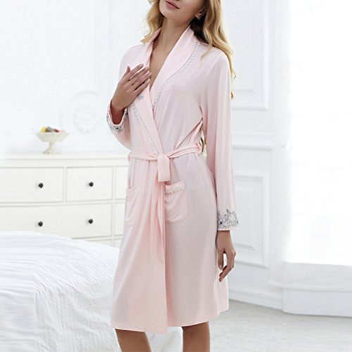 Zhhlaixing Pretty Womens Simple Solid color Nightgown Fashion Long sleeves Sleepwear Pink