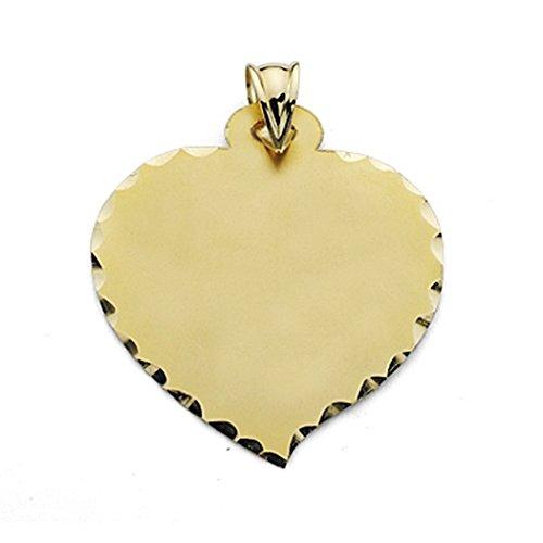 Pendentif 18k plaque d'or grand coeur lisse [7243]
