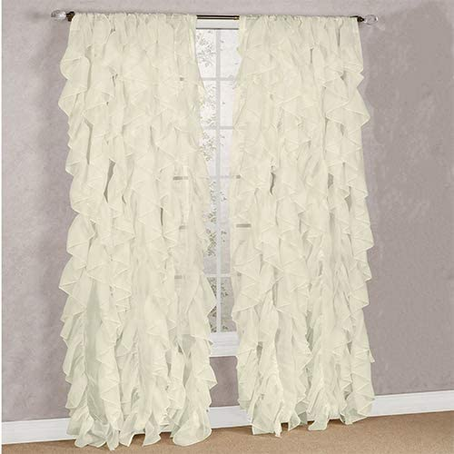 DiamondHome Decorative Sheer Vertical Ruffle Waterfall Window Panel Curtain Drape Or Valance Beige, 2 Panels 50 X 95