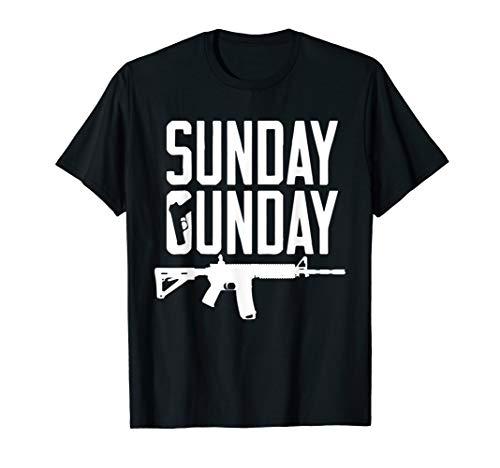 Sunday Gunday Gun Shooting Pistol Firearm AR15 Rifle T-Shirt