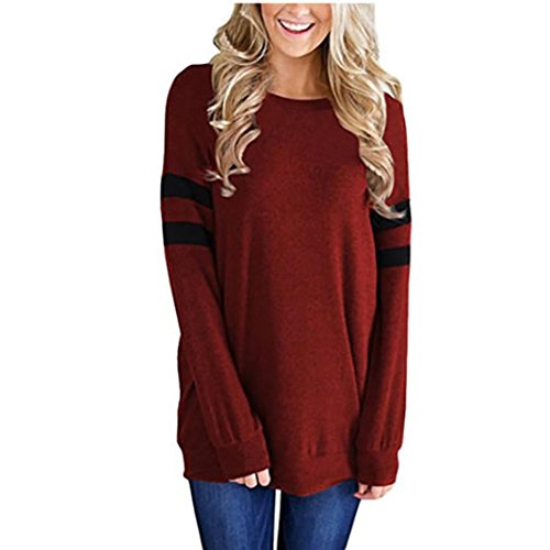Gillberry Womens Cotton Long Sleeve Round Neck Splice Shirt Blouse Tops T Shirt (L, Wine Red)