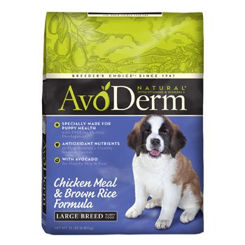 AvoDerm Natural Chicken Meal and Brown Rice Formula Large Breed Puppy Food, 15-Pound, My Pet Supplies