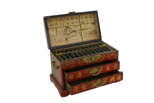 Chinese Antique - Asian Home Vintage Chinese Wooden Bead Arithmetic Abacus W. Storage Case