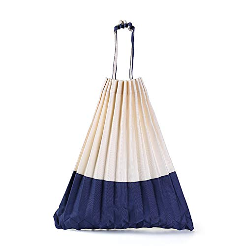 (Women's Casual Ruched Totes Pleats Shoulder Pleated Foldaway Handbag Tote Bag (Beige&Dark Blue Pleats) )