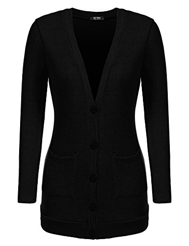 SE MIU Women Casual V Neck Long Sleeve Pockets Solid Button Front Knit Cardigan Sweater, Black, XX-Large