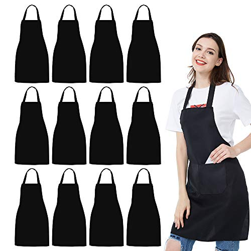 nobondo-12-pack-bib-apron-unisex-black-apron-bulk-with-2-roomy-pockets-machine-washable-for-kitchen-crafting-bbq-drawing