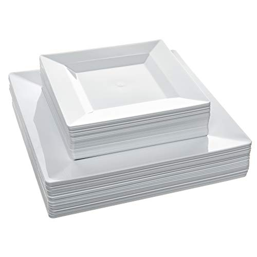 Disposable Square Plastic Plates - 60 Pack - 30 x 9.5'' Dinner and 30 x 6.5'' Salad Combo - Premium Heavy Duty- By Aya's Cutlery Kingdom by Aya's Cutlery Kingdom (Image #1)