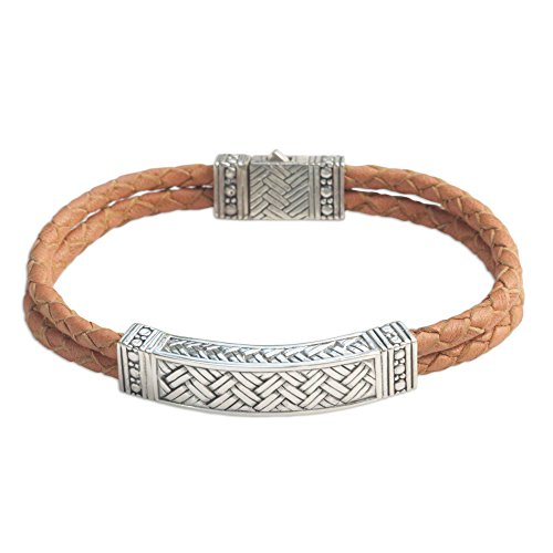"NOVICA Men's .925 Sterling Silver and Braided Brown Leather Bracelet, 8.75"" 'Jakarta Man'"