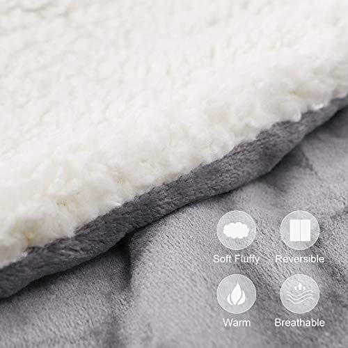 "EMME Sherpa Fleece Blanket Reversible Warm Cozy Microfiber Soft Plush Throw Blanket, Fuzzy Blanket Ultra Luxurious Plush Blanket for Bed Couch Sofa Outdoor Travel (Grey, 50""x60"")"
