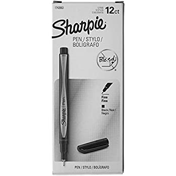 Sharpie Plastic Point Stick Water Resistant Pen, Ink, Fine, Pack of 12, Black (1742663)