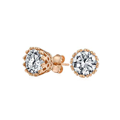 1 CT Crown Set Cubic Zirconia Round Solitaire CZ Stud Earrings For Women 14K Rose Gold Plated 925 Sterling Silver ()