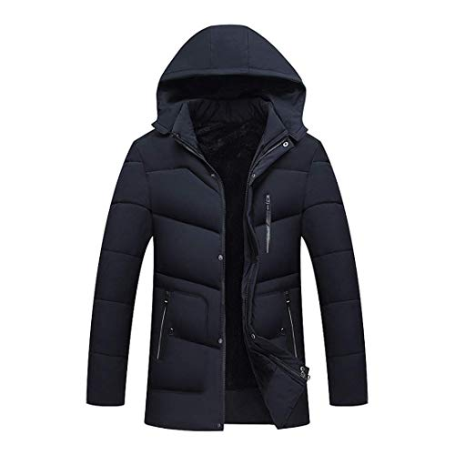 Overcoat Zhhlaixing Jacket Winter Dark Warm Hooded up with Collar Fashion Stand Windproof Mens Jackets Outwear Blue Coat F1qpRF6w