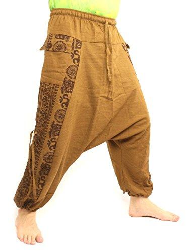 (jing shop Harem Baggy Pants Boho Hippie Cultural Pattern Print Cotton Beige)