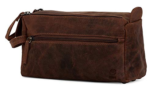 Leather Toiletry Bag for Men - Hygiene Organizer Travel Dopp Kit By Rustic Town (Dark Brown)
