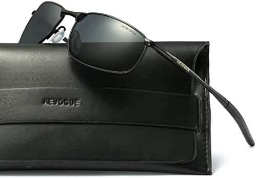 AEVOGUE Polarized Sunglasses For Men Rectangle Metal Frame Retro Sun Glasses AE0535