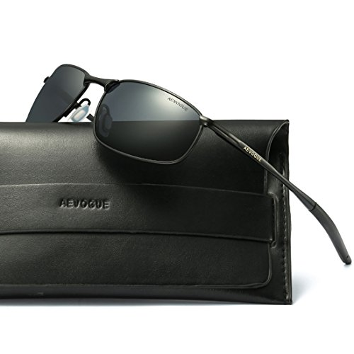 AEVOGUE Polarized Sunglasses For Men Rectangle Metal Frame Retro Sun Glasses AE0535 (Black, - Glasses Designer Sun Men For