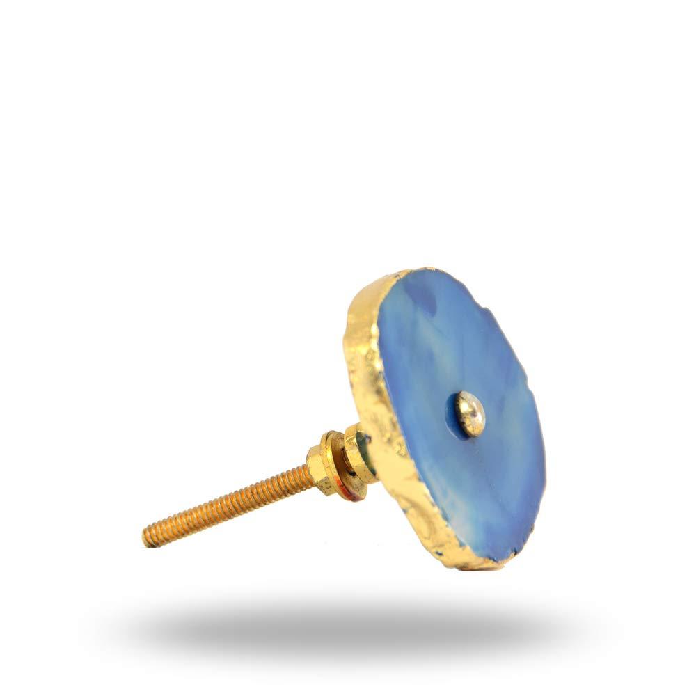 Barbarella-Achatknopf mit Messingbeschl/ägen Blau von Trinca-Ferro