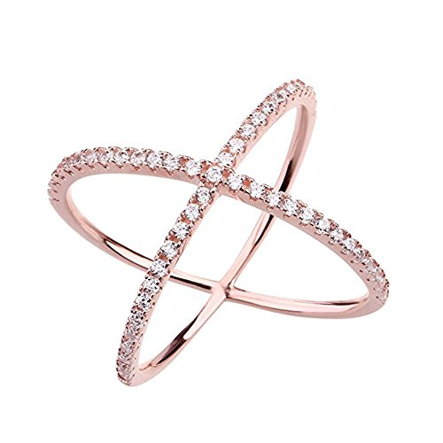 Womens Criss Cross Ring X Ring Micropave CZ Inlay 14K Rose Gold Plating Size 8 (Ring Thin Cross)