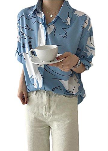 振り子部森[ミートン] シャツ ブラウス ワイシャツ レディース アロハシャツ ハワイシャツ プリント 夏 五分袖 薄手 ビーチ ゆったり カジュアル