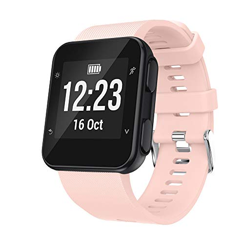 Price comparison product image US Fast Shipment Tuscom Solid Color Durable Soft Pink Small Replacement Wrist Band Silicon Strap Clasp for Garmin Forerunner 35 Watch (Pink)