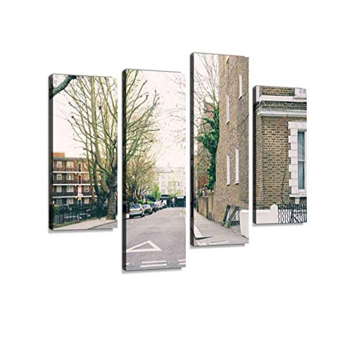 LanimioLOX Portobello Road View, Notting Hill, London Canvas Wall Art Hanging Paintings Modern Artwork Abstract Picture Prints Home Decoration Gift Unique Designed Framed 4 Panel