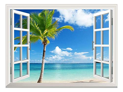 Removable Wall Sticker/Wall Mural - Beautiful Tropical View of Palm Tree on The Beach | Creative Window View Wall Decor - 36