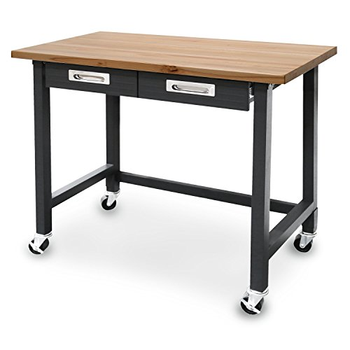 Seville Classics (UHD20271B) UltraGraphite Wood Top Workbench on Wheels (48W x 24.7D x 37.4H Inches) Graphite (Bench Work Cabinets Garage &)