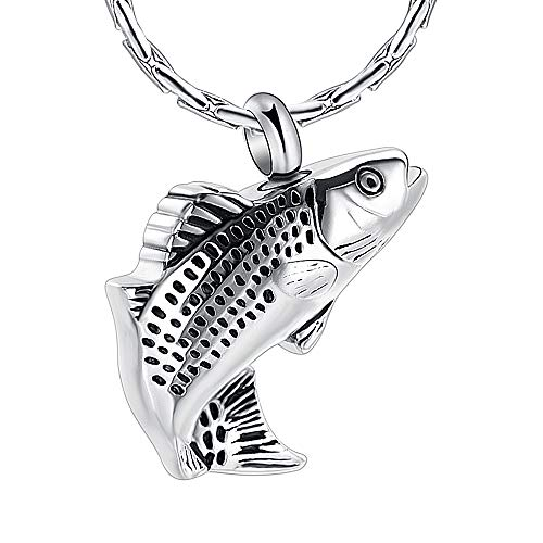 constanlife Cremation Jewelry for Ashes Stainless Steel Fish Shape Design Memorial Urn Necklace Keepsake Jewelry Gift Men Women Multifunction Necklace (Silver) (Best Fish To Have As Pets)