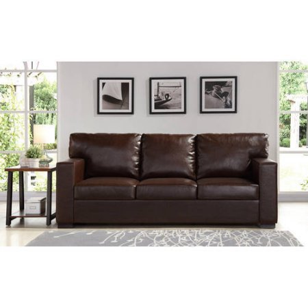Better Homes And Gardens Oxford Square Sofa  Brown Bonded Leather