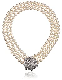 Kenneth Jay Lane Bride Rose Three Row Statement Simulated Crystal Pearl Strand Necklace