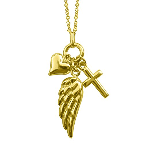 Precious Stars 14k Yellow Gold Cross, Angel Wing Heart Charm Necklace from Precious Stars