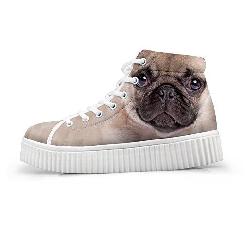 Abbracci Idea Simpatico Animale Stampa Piattaforma Scarpe Moda Sneakers Pug
