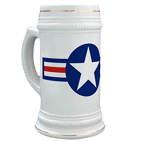 Retro Stein Ceramic - CafePress - Retro Us Airforce Star - Beer Stein, 22 oz. Ceramic Beer Mug with Gold Trim