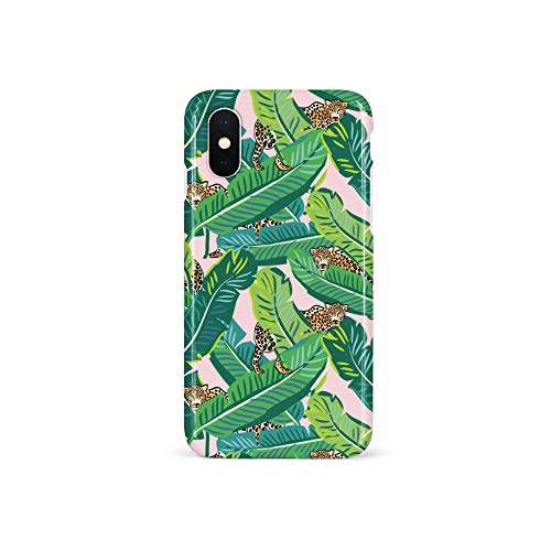 - Wingcases for iPhone X/Xs/10 Case, Wild Safari Leopard Cheetah Print with Green Tropical Leaves and Pink Background Design Phone Cover