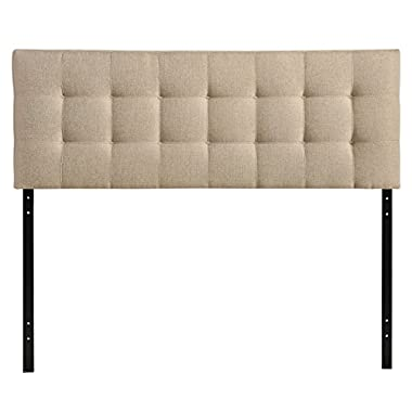 Modway Lily Queen Upholstered Linen Headboard in Beige