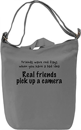 Real friends pick up a camera Borsa Giornaliera Canvas Canvas Day Bag| 100% Premium Cotton Canvas| DTG Printing|