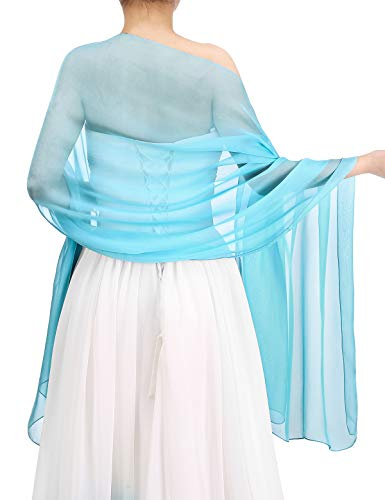 Bbonlinedress Women's Soft Chiffon Shawls for Evening Dresses Fashion Scarves Wraps for Bridal Wedding Party Blue 180x72