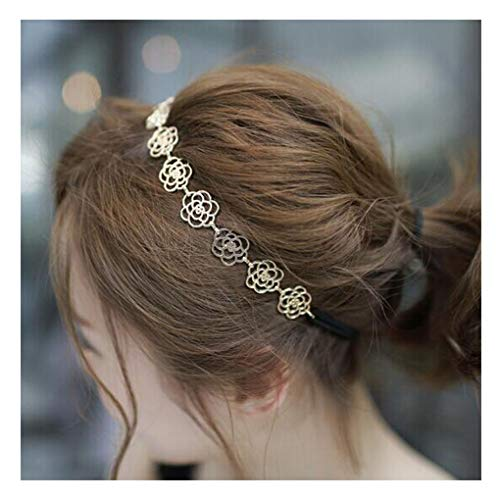LittleB Springy Headbands Gold Rose Head Accessories for Women and Girls.