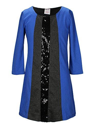 S.W.A.K. Girls Long Sleeves Colorblock with Sequins Dress Royal Size 14 16