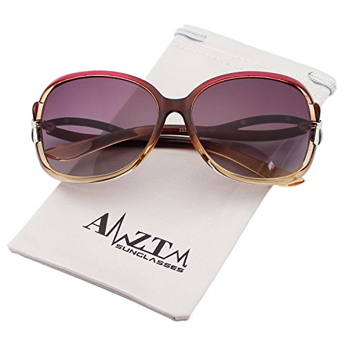 AMZTM Classic Fashion Gradient Frame Driving Shades Oversized Polarized Women Sunglasses (Purple and Dark brown, - Sunglasses Pretty