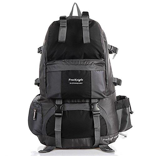 FTSUCQ Mens/Womens Nylon Backpack Travel Daypack School Bags Shoulder Satchels (Black)