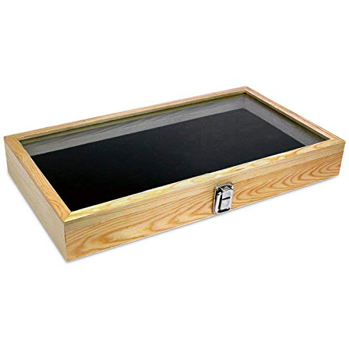 Display Locking Glass Cases - Mooca Wooden Jewelry Display case with Tempered Glass Top Lid