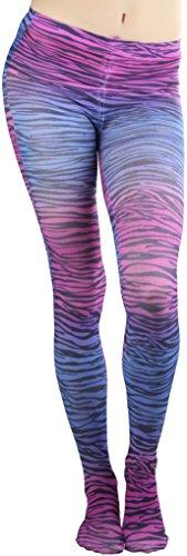 ToBeInStyle Women's Opaque Multicolor Horizonal Zebra Print Pantyhose