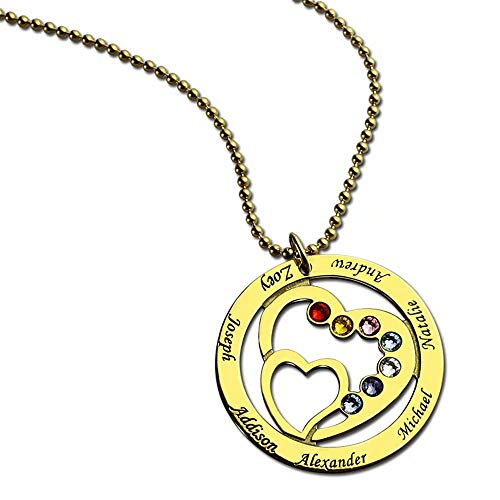 Lenox Sterling Silver Necklace - DXYAN Round Heart to Heart Hollow-caved Necklace with Birthstones and Custom Made with Names(Silver|22.0 inches)