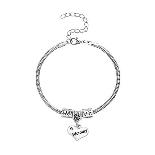 """Mommy"" Charm Bracelets   Adorable Mommy Heart Bracelet   Best Family Jewelry Gift (Hearts 23 Bracelet Charm)"