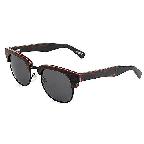 lunettes lunettes qualité UV main en la conduite de de Style lunettes soleil plage haute protection soleil élégant soleil de à Semi de de polarisées rétro unisexe soleil femmes Noir P Rimless lunettes bois w1Tqf