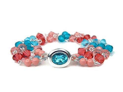 Swarovski Turquoise and Coral Crystal Bracelet
