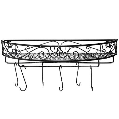 Scrollwork Design Wall Mounted Black Metal Pot Hanger / Cooking Utensils Rack / Kitchen Shelf - MyGift by MyGift (Image #1)'
