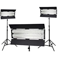 FloLight FL-110HM 3000K Tungsten 3-Point Fluorescent Lighting Kit, Includes 3x 7 Light Stand, Carrying Case