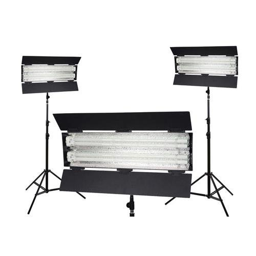 FloLight FL-110HM 3000K Tungsten 3-Point Fluorescent Lighting Kit, Includes 3x 7' Light Stand, Carrying Case by FLOlight